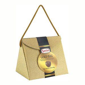 шок.конфеты SORINI Глиттербэг(золотые,серебряные)сумочка ореховый крем и злаки 150 г.*6шт (Италия.)